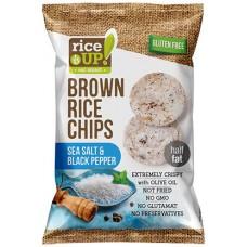 Celozrnné ryžové čipsy - čierne korenie, morská soľ
