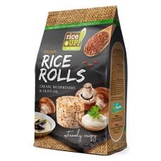 Celozrnné ryžové krúžky - smotana, huby , olivový olej